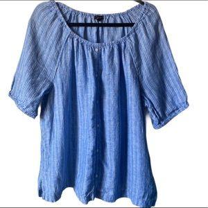 Talbots chambray striped boho linen blouse sz XL